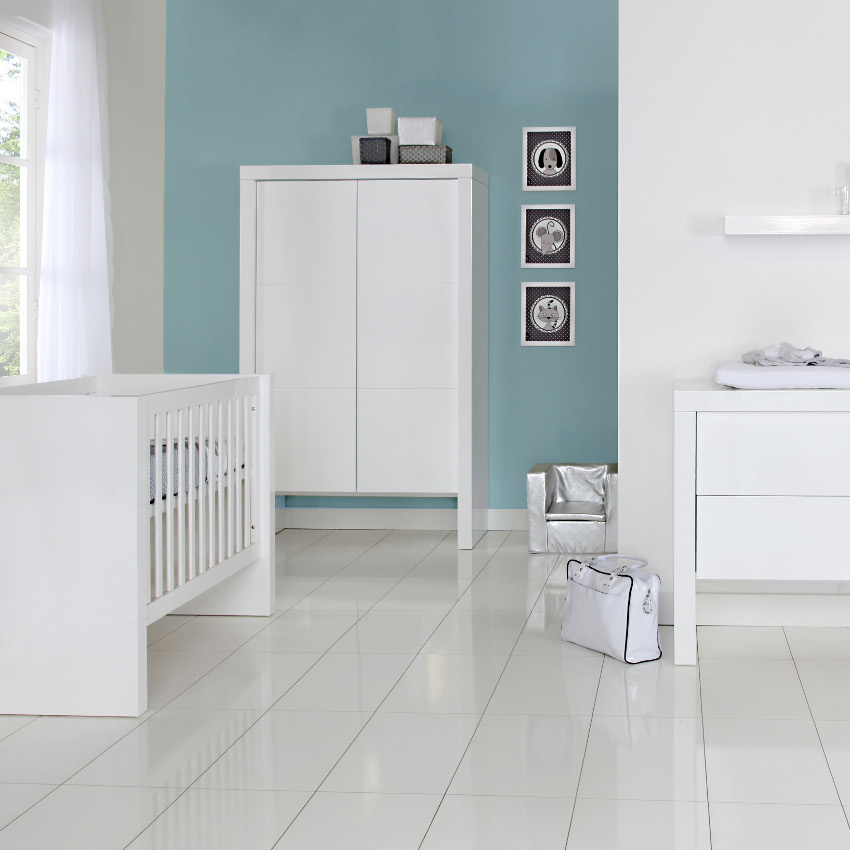 Babykamer Bright Wit Mat - Ledikant - Commode - Kast