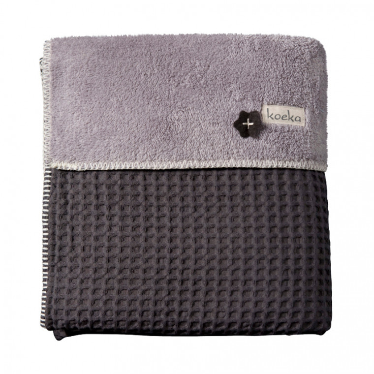 Koeka Wiegdeken Wafel / Teddy Oslo Dark Grey / Soft Grey