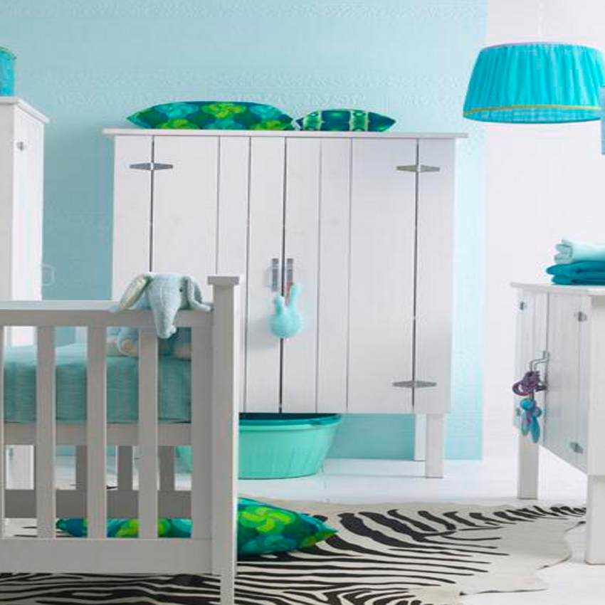 Babykamer Kids Factory Montana Wit - Ledikant - Commode - Kast