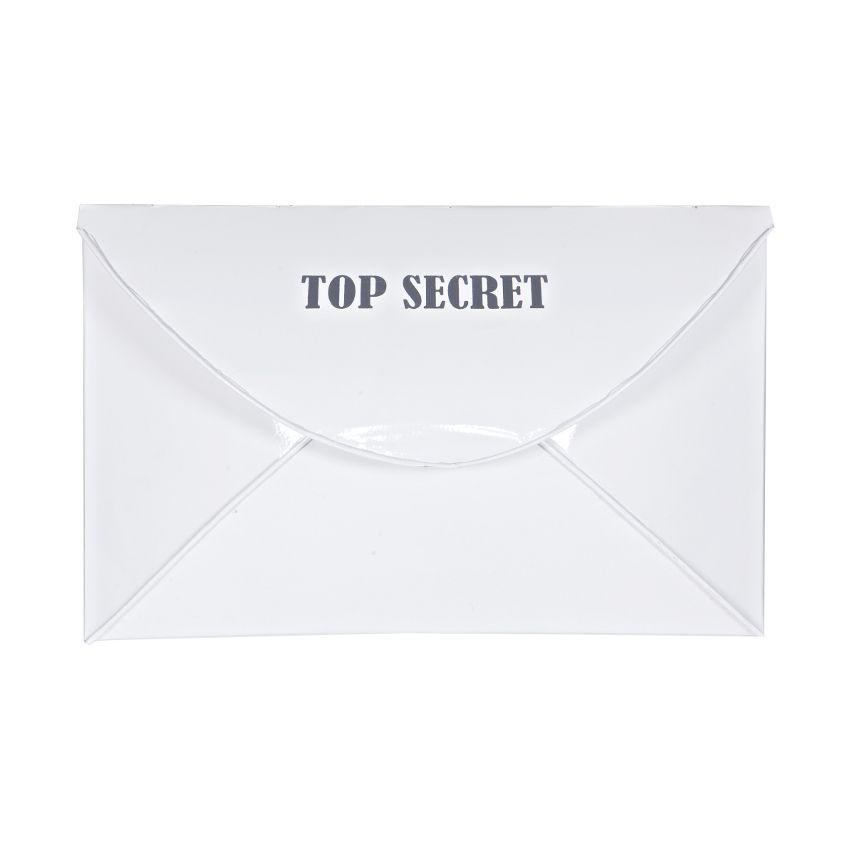 Woood Wall Deco Envelop Top Secret Metaal