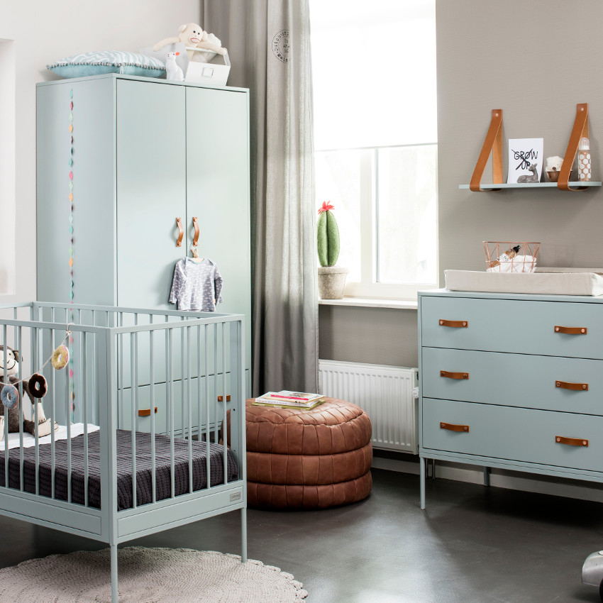 Babykamer Bliss Seagreen - Ledikant - Commode - Kast