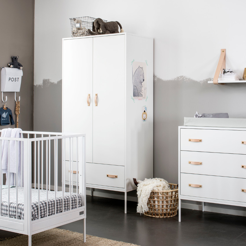 Babykamer Bliss Wit - Ledikant - Commode - Kast