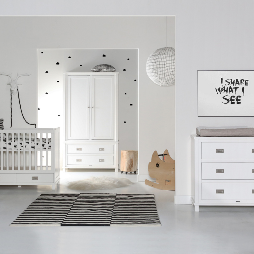 Babykamer Loft Wit - Ledikant - Commode