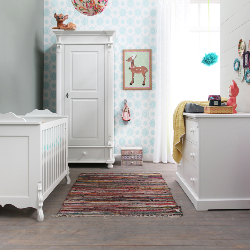 Babykamer Mix Wit - Ledikant - Commode - Kast