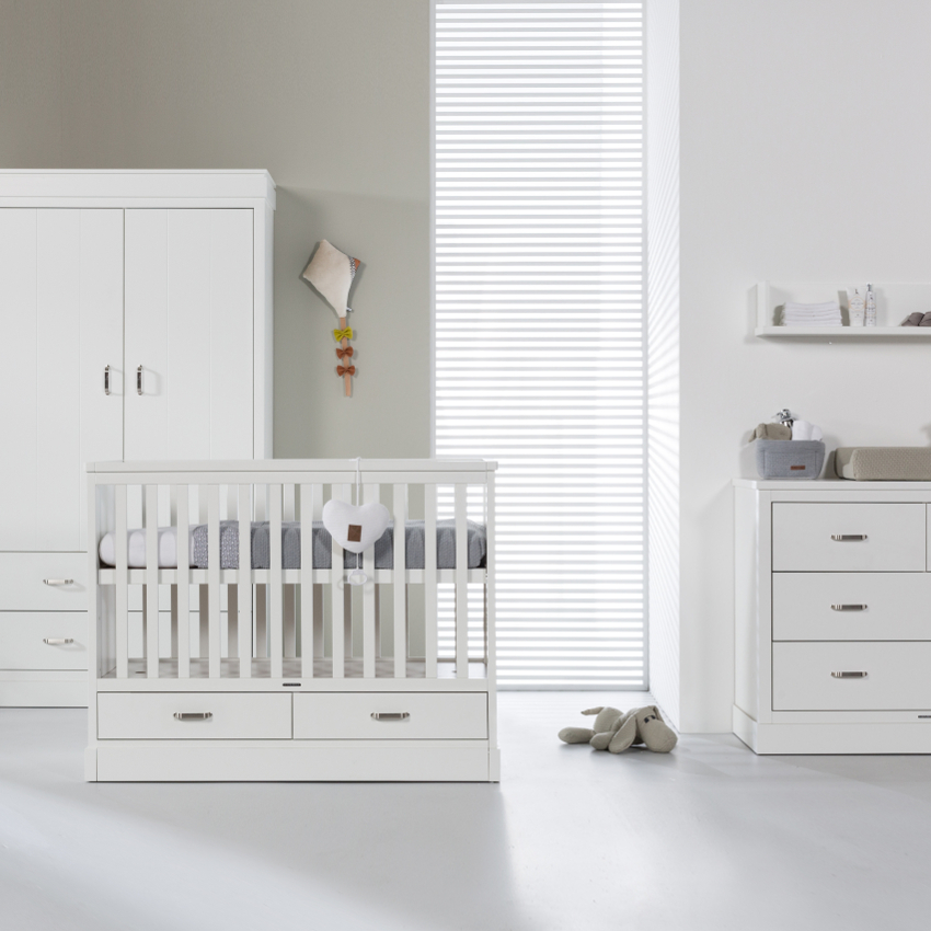 Babykamer Newport 2 Wit - Ledikant - Commode