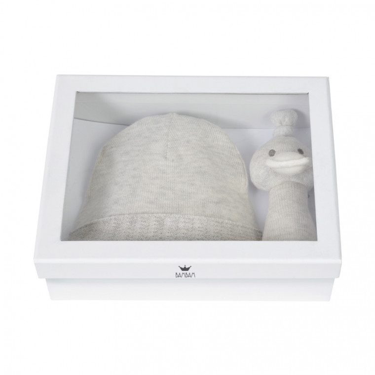 Bambam Giftbox Knitted Hat and Rattle