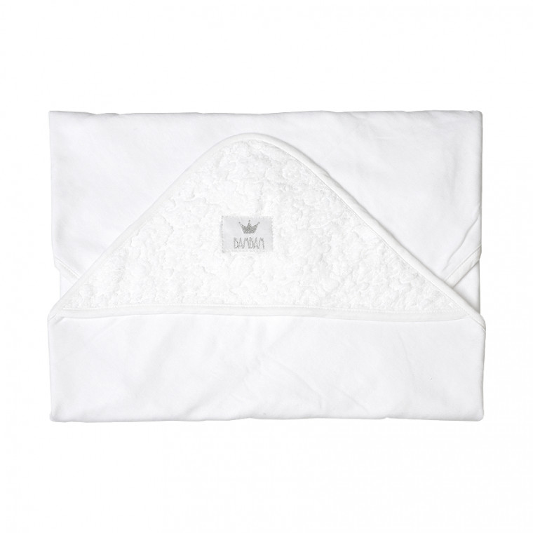 BamBam Hooded Towel White Jacquard