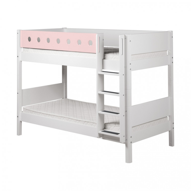 Flexa White Stapelbed Rechte Trap Roze / Wit
