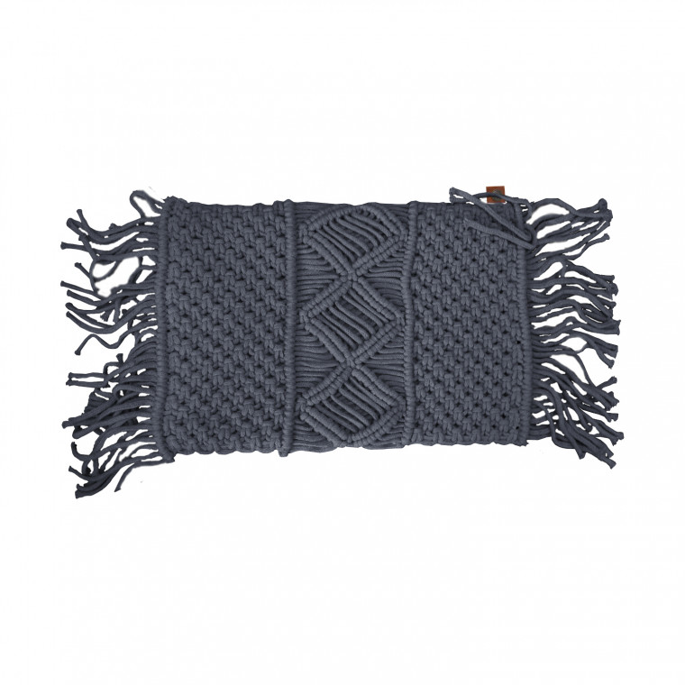 Overseas Gracio Natural Knitted Kussen Antracite 30 x 50 cm