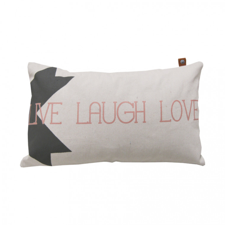 Overseas Kussen Live Laugh Love Off White 30 x 50 cm