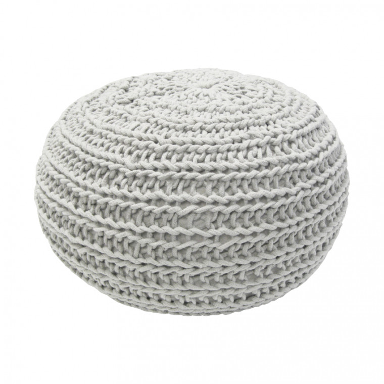 Overseas Poef Natural Knitted Off White 30 x 50 cm