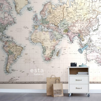 Estahome Vintage Map Of The World Behang
