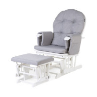 Gliding Chair Rond Beuk Canvas Met Voetenbank Grey