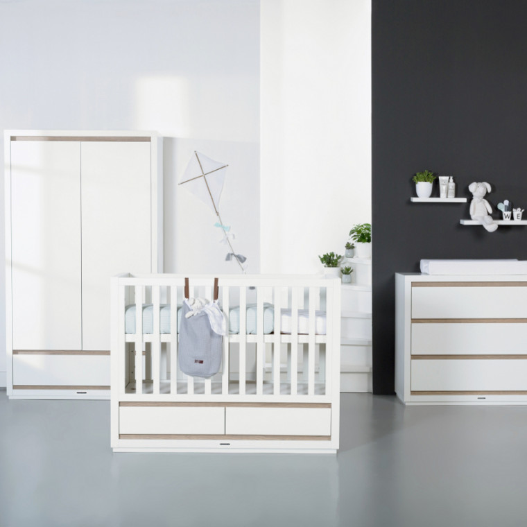 Kidsmill Accent Babykamer Wit | Commode + Kast 3-Deurs