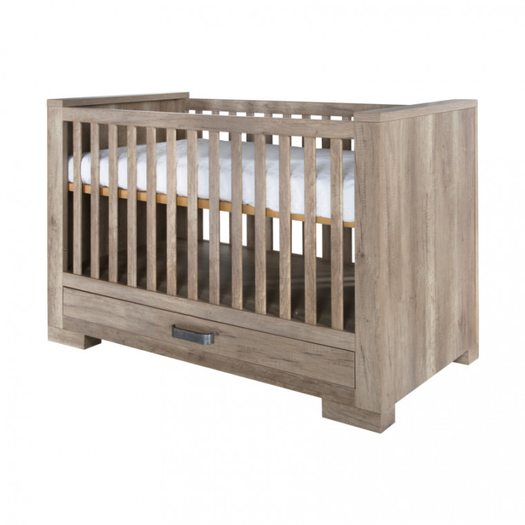 Kidsmill Brent Babykamer Oldwood | Bed Incl. Lade 70 x 140 cm + Commode