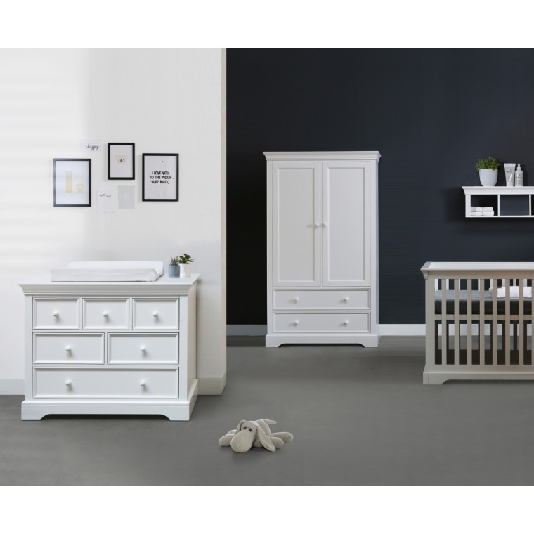 Kidsmill Chateau Babykamer Wit | Bed 70 x 140 cm + Commode + Kast 2-Deurs