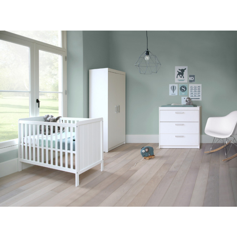 Basicline Ralph Babykamer Wit | Bed 70 x 140 cm + Commode + Kast