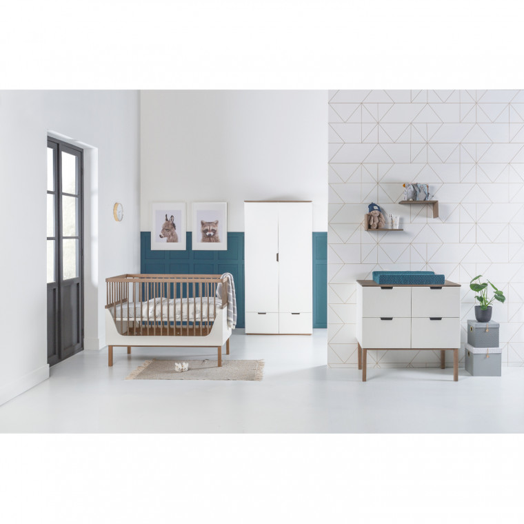 Kidsmill Sepp Babykamer Wit / Beuken | Bed 60 x 120 cm + Commode