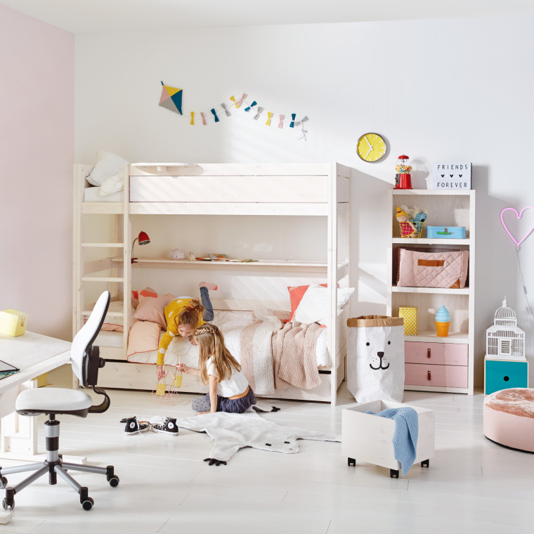 LIFETIME Kidsrooms Stapelbed Luxe Rechte Trap Whitewash