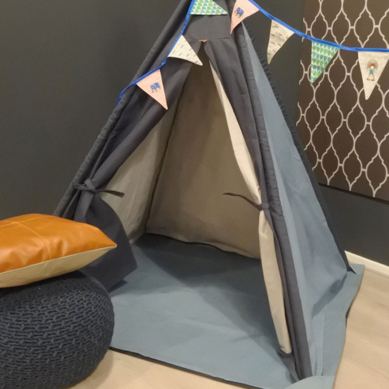 Overseas Tipi Tent Canvas Basic Soft Blue  Navy